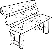 wooden bench / cartoon vector and illustration, black and white, hand drawn, sketch style, isolated on white background.