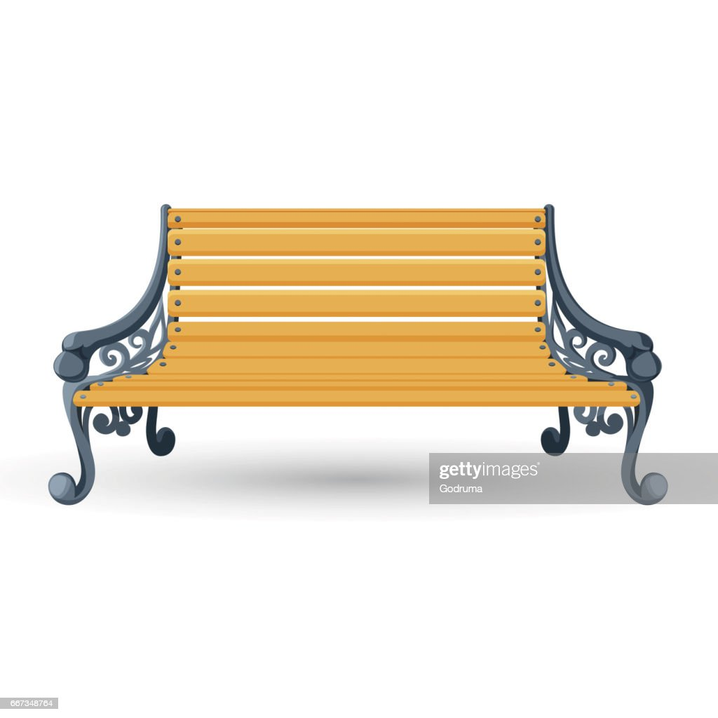 Wooden bench isolated on white background. Place for rest