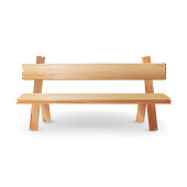 Wooden Bench Realistic Vector Illustration. Park Brown Classic Bench With Shadow Isolated