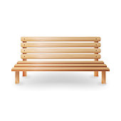 Wooden Bench Realistic Vector Illustration. Smooth Wooden Classic Furniture On White background
