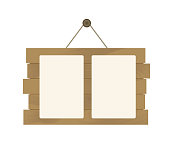 Wooden Billboard Sign. Paper Poster with Blank Space for Your Text and Design.