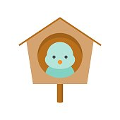 wooden bird house, flat design icon