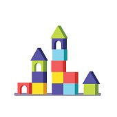 Wooden block building game castle