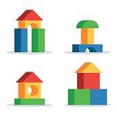Wooden blocks toy castle