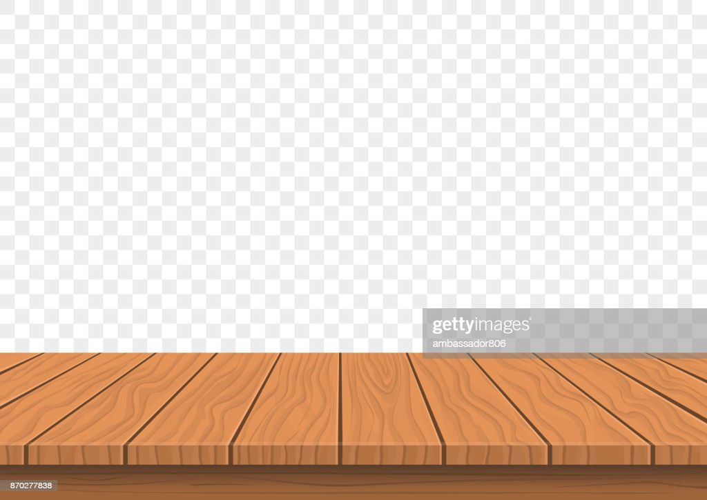 wooden board top on transparent background
