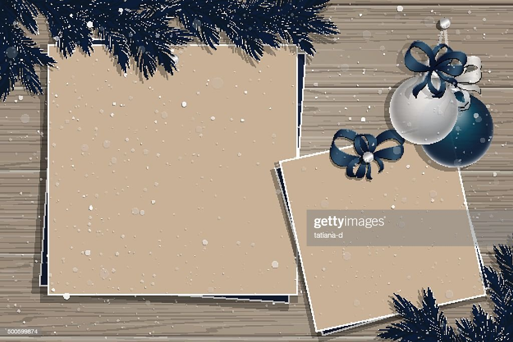 Wooden board with christmas decorations