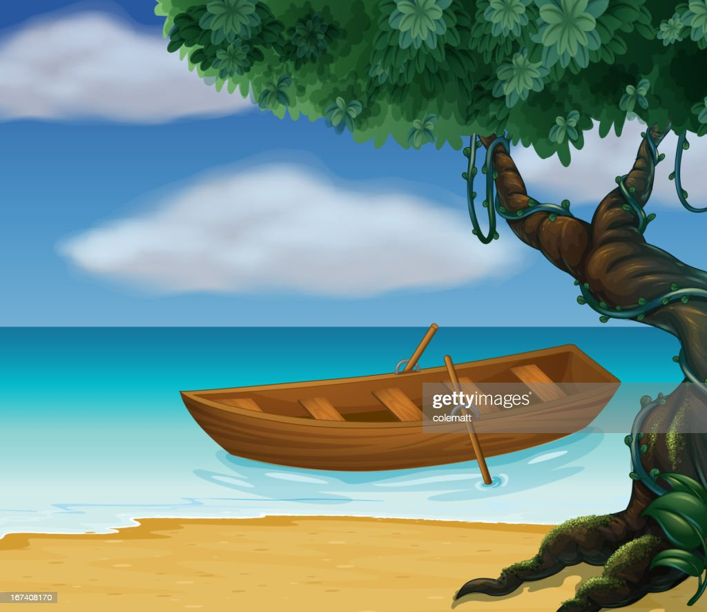 Wooden boat in the sea : Vector Art