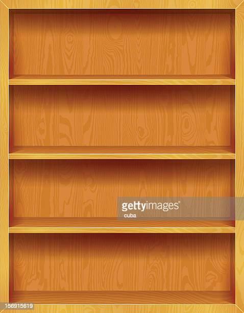 ilustrações, clipart, desenhos animados e ícones de estantes de madeira fundo - livraria
