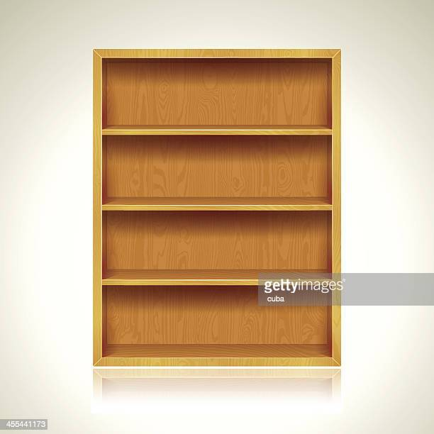 wooden bookshelves background - no people stock illustrations