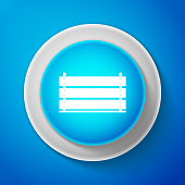 Wooden box icon isolated on blue background. Grocery basket, storehouse crate. Empty wooden container for vegetables, products. Circle blue button. Vector illustration