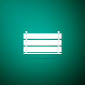 Wooden box icon isolated on green background. Grocery basket, storehouse crate. Empty wooden container for vegetables, products. Flat design. Vector Illustration