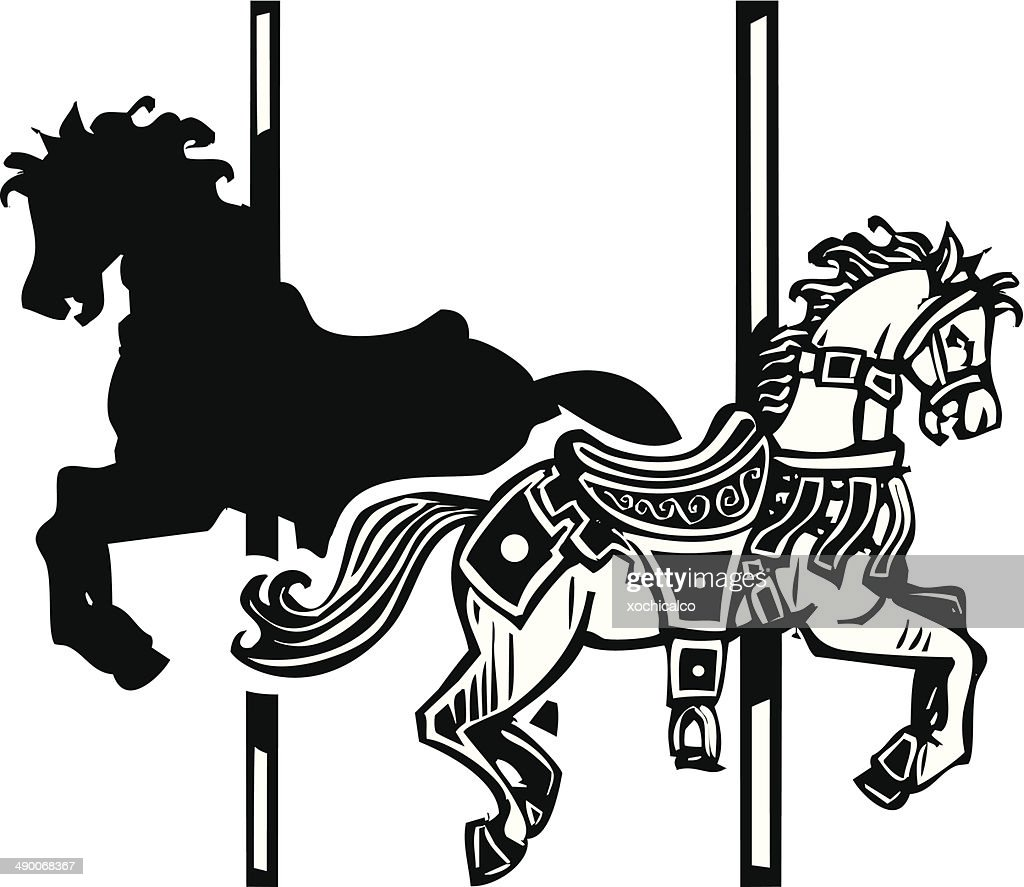 Wooden Carousel Horse Shadow