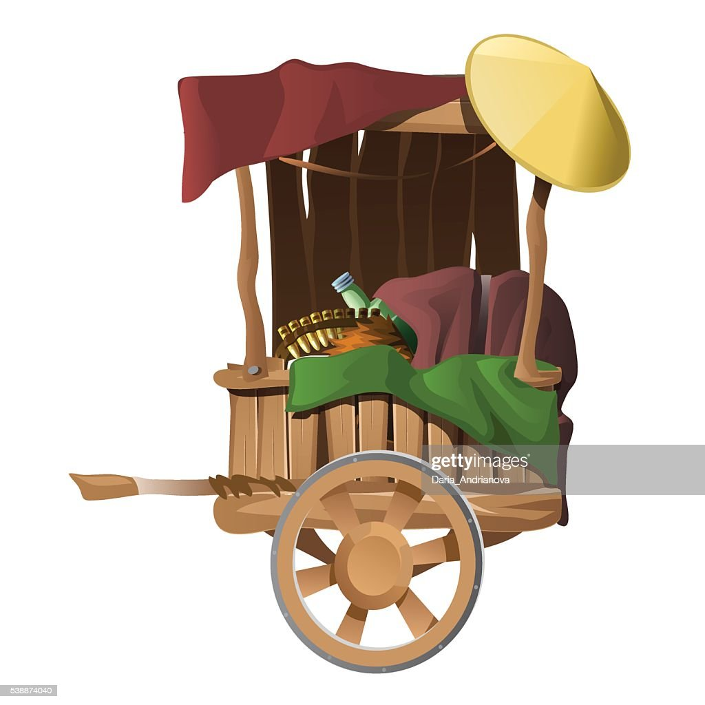 Wooden cart with different products, isolated