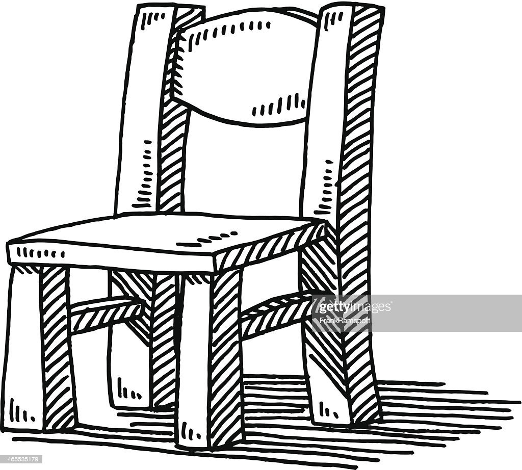 Wooden Chair Drawing ~ Wooden chair furniture drawing vector art getty images