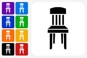 Wooden Chair Icon Square Button Set