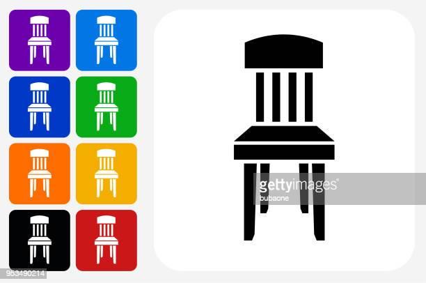Houten stoel pictogram vierkante knop Set