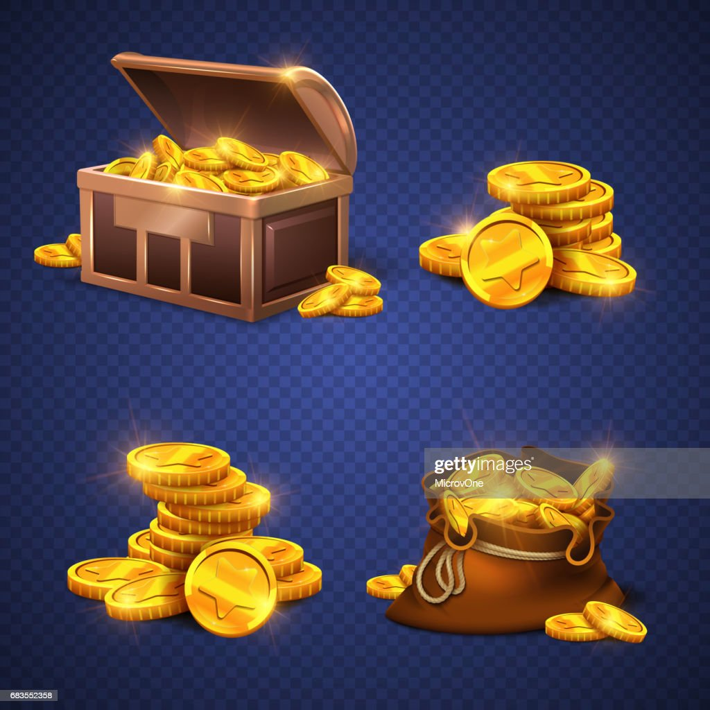 Wooden chest and big old bag with gold coins, money stack isolated