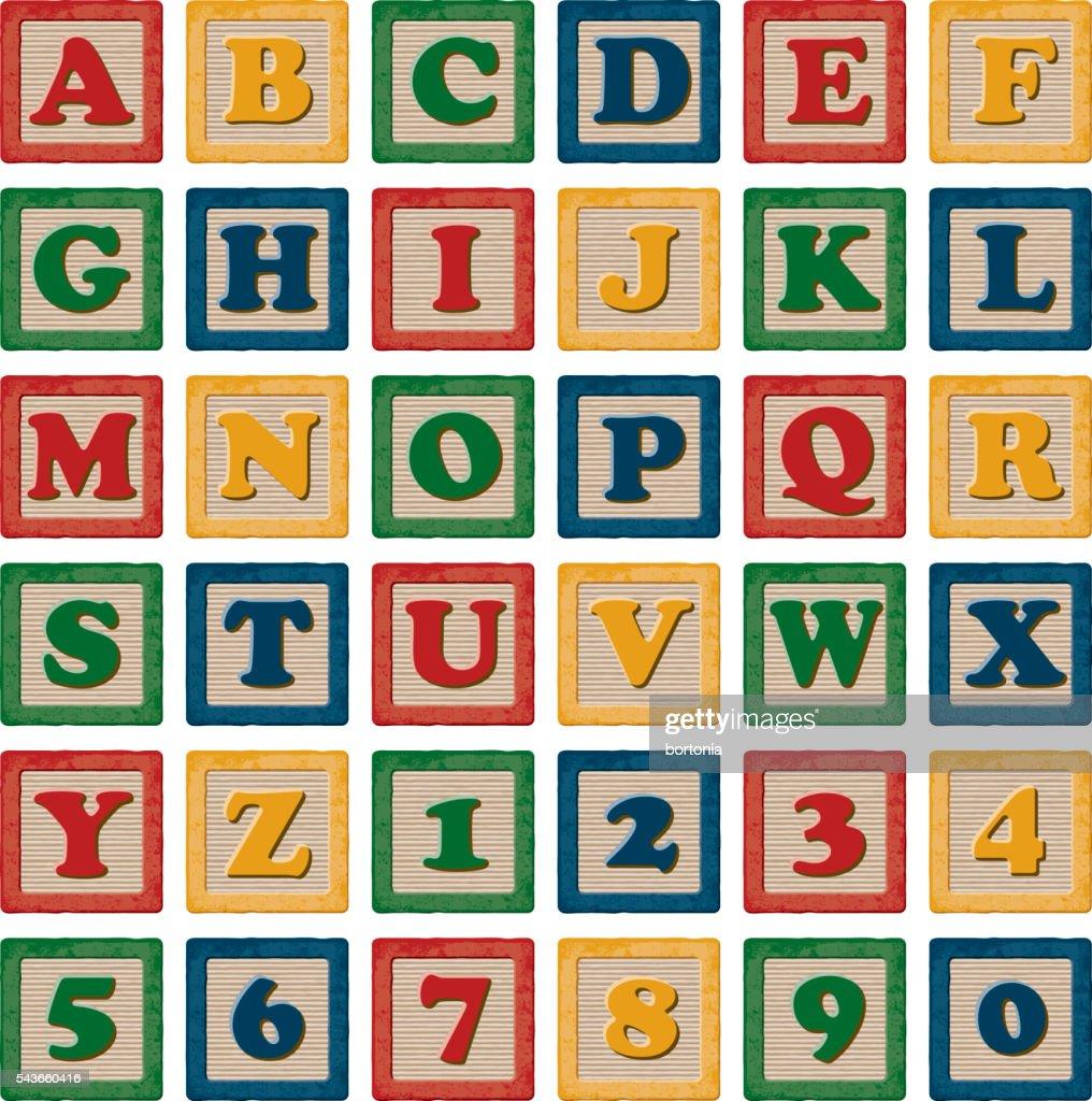 Crianças de madeira do alfabeto de blocos de brinquedo de bater : Ilustração