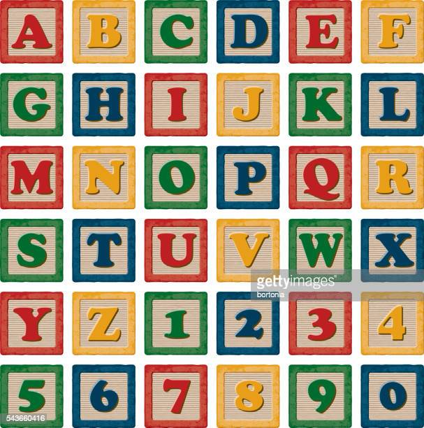 wooden children's toy alphabet blocks set - number stock illustrations