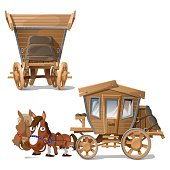 Wooden coach pulled by horses, two perspectives
