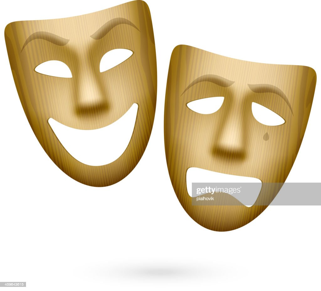 Wooden comedy and tragedy theatrical masks