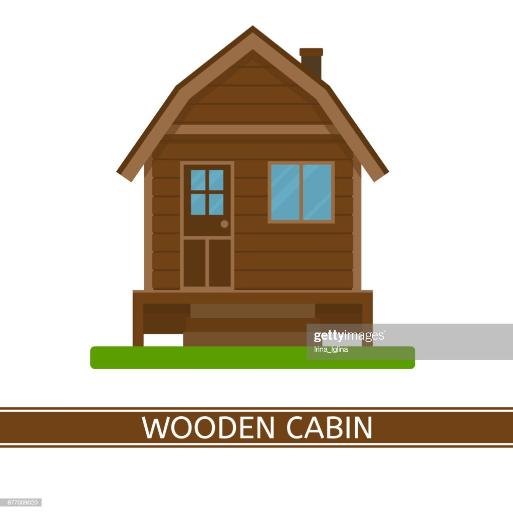 Wooden cottage icon