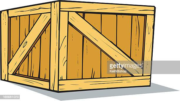 Wooden Crate or Box Cartoon
