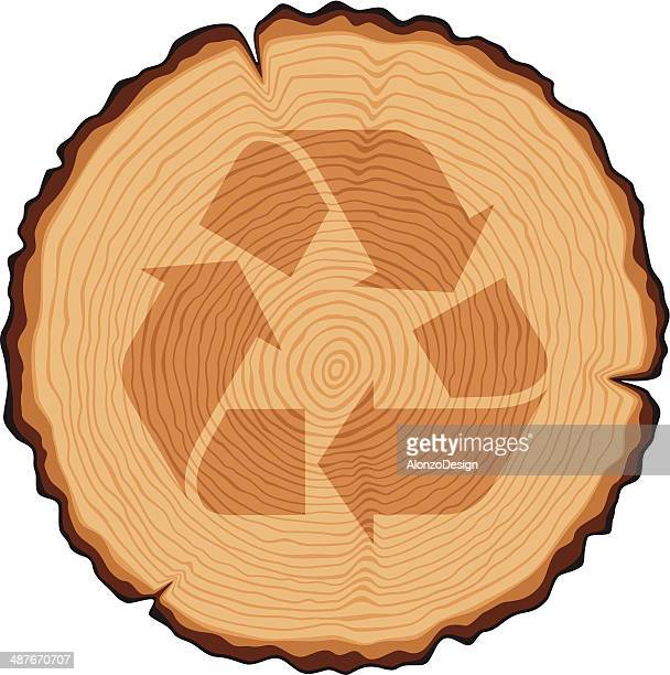 Wooden Cross Section with Recycling Symbol