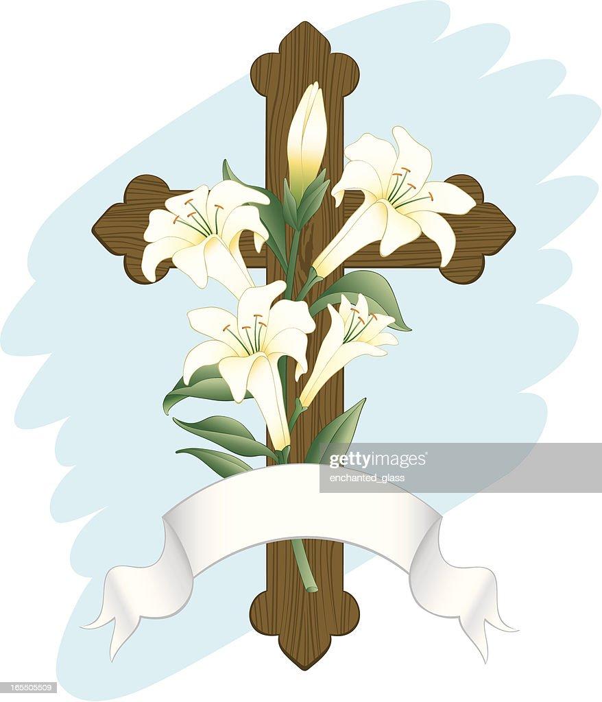 Wooden Cross w/ Easter lillies