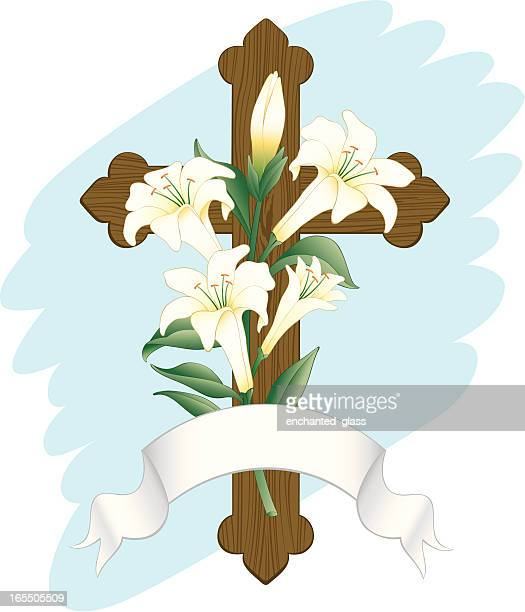 wooden cross w/ easter lillies - easter lily stock illustrations