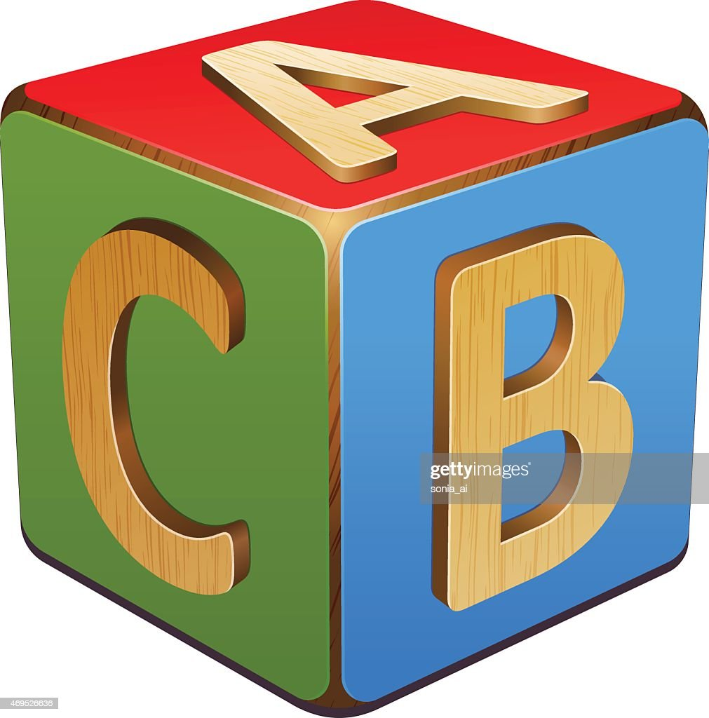 Wooden cube with blue, red and green A,B,C