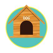 wooden dog house / pet toys accessories. vector illustration