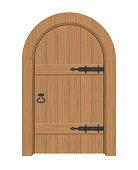Wooden door, Interior apartment closed door with iron hinges
