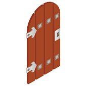 Wooden door with forged hinges icon