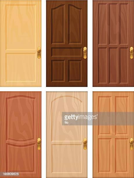 ilustraciones, imágenes clip art, dibujos animados e iconos de stock de puerta de madera - marrom