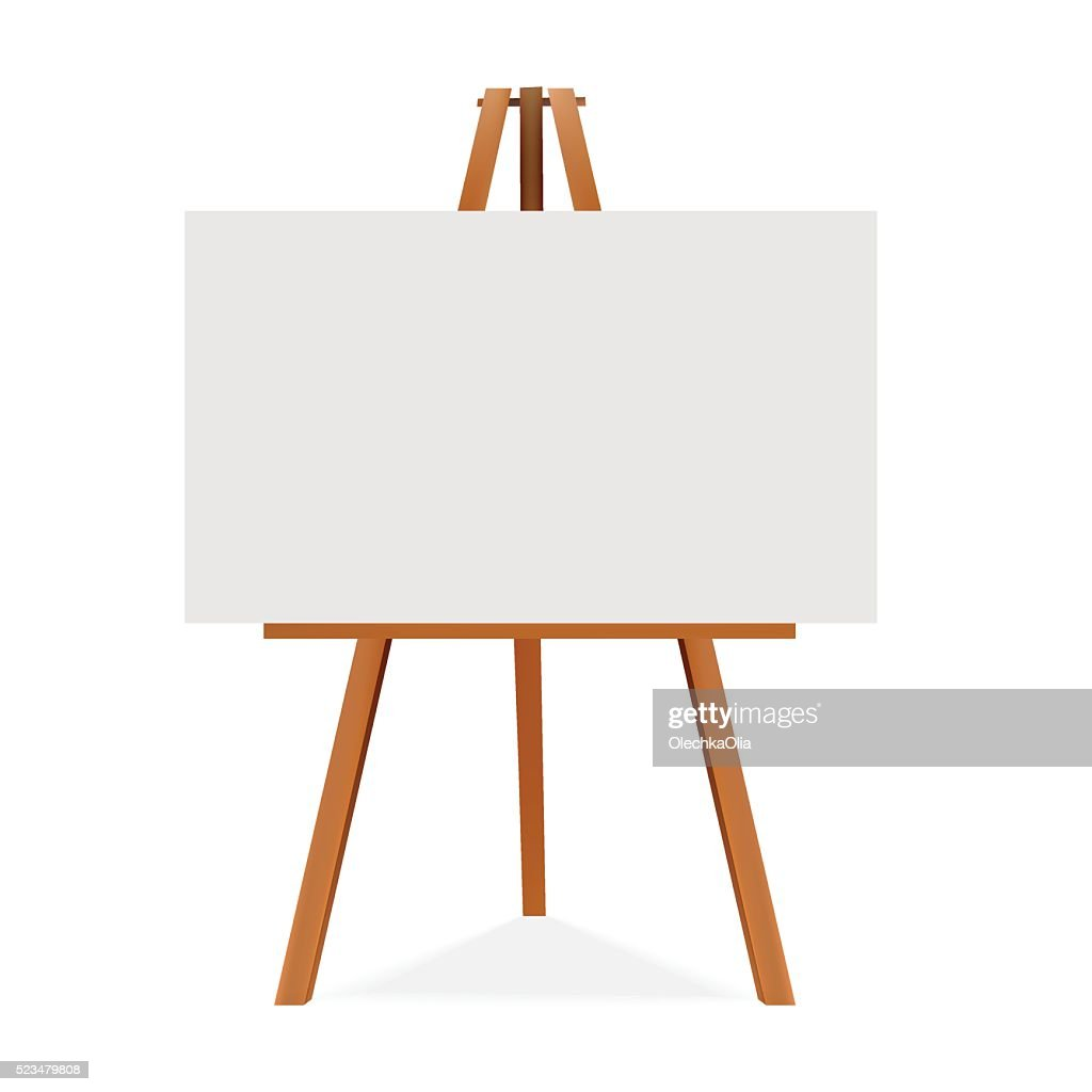 Wooden easel with canvas. Blank space ready for your advertising