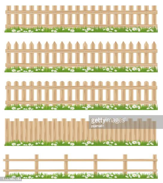 wooden fence and grass - fence stock illustrations