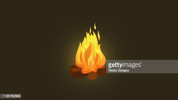 wooden fire winter illustration - bonfire stock illustrations