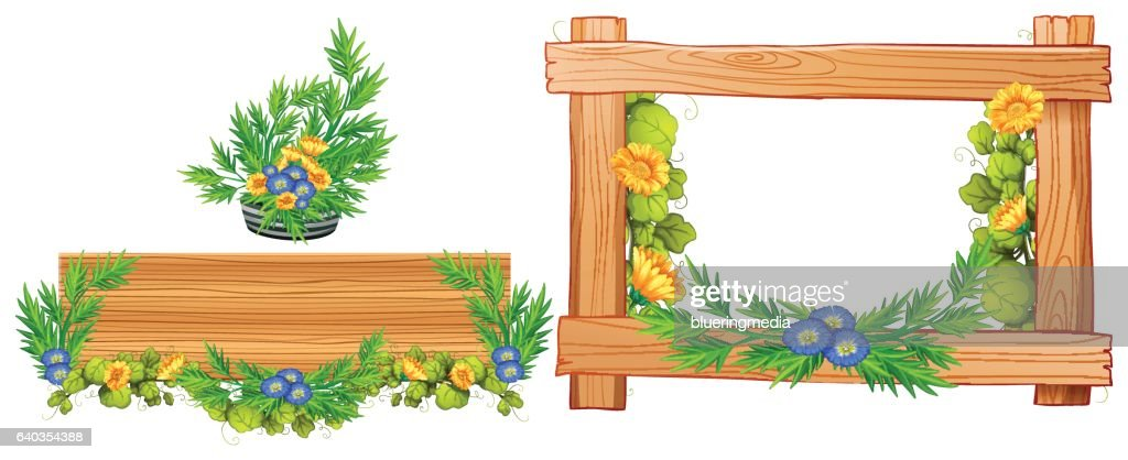 Wooden frames with flowers