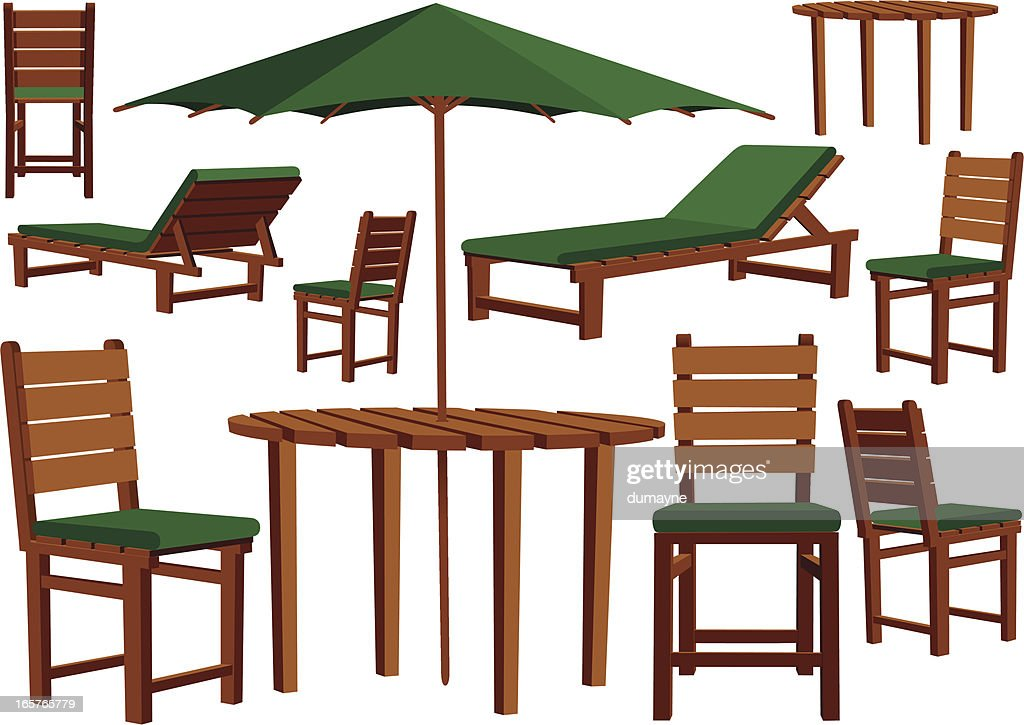 Wooden garden furniture and sun loungers