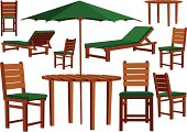 Wooden garden furniture and sun loungers
