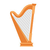 Wooden harp on white background. Classical string musical instrument. Cute flat cartoon style.