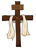 Wooden Holy Cross with Fabric and INRI sign