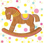 Wooden horse toy - vector illustration