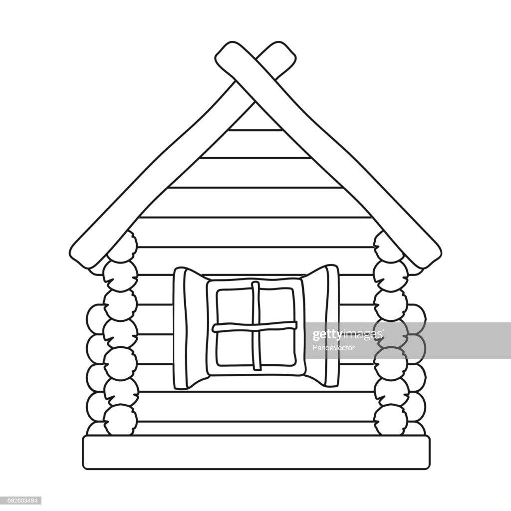 Unglaublich Russisches Holzhaus Galerie Von -symbol Im Umriss-stil Isoliert Auf Weißem Hintergrund.