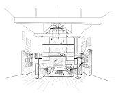 Wooden house interior sketch.