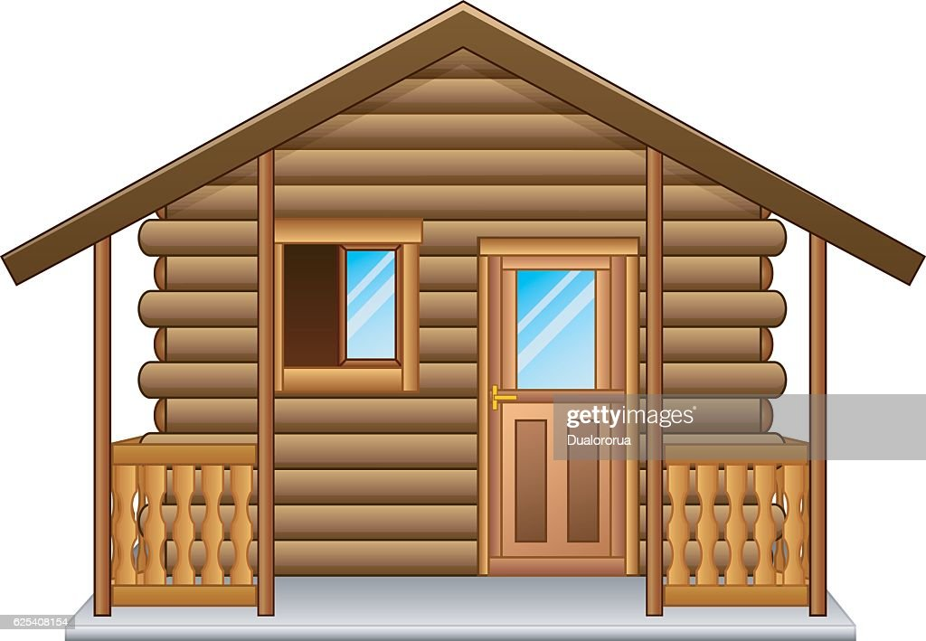 Wooden house isolated a white background