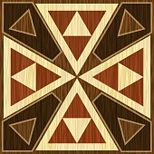 Wooden inlay, light and dark triangle patterns. Veneer textured antique geometric ornament. Wooden art decoration template.