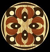 Wooden inlay, light and dark wood patterns in circle composition. Veneer textured antique geometric ornament. Wooden art decoration template