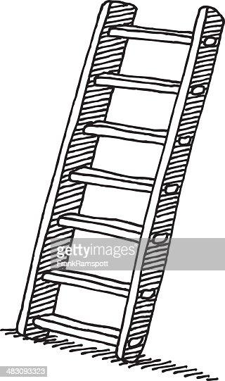 Wooden Ladder Drawing Vector Art